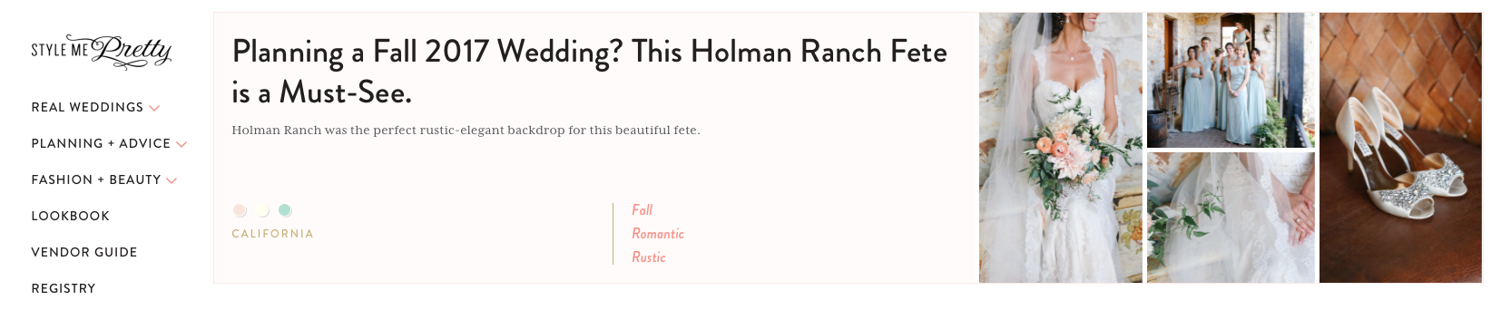 Holman Wedding Feature on Style Me Pretty Blog